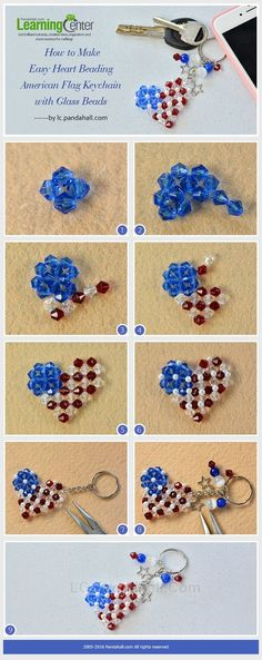 LC.Pandahall.com has published the Tutorial on How to Make Easy Heart Beading American Flag Keychain with Glass Beads. | DIY Jewelry & Crafts 2 | Pinterest by Jersica