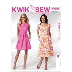 Kwik Sew Pattern Misses' Dresses, (XS, S, M, L, XL)