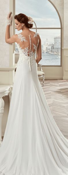 Colet ivory soft line dress, in chiffon with rebrodè beading lace. Colet 2017 Collection - Wedding dress