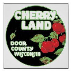 Cherry Land Door County Wisconsin, Vintage Poster