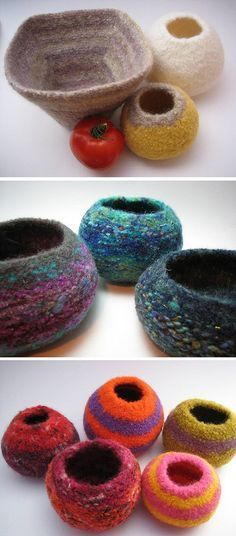 Free Knitting Pattern for Felted Pods -Designed by Olivia Sherwood, these small containers are knit top-down in the round, starting with a smallish opening, and increasing regularly at four points.