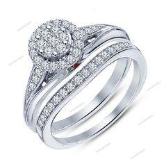 White Platinum FN 925 Silver Rd Sim Diamond & Garnet Women's Bridal Ring Set #Aonedesigns #WomensBridalRingSet