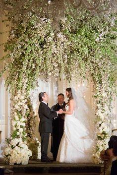 9bfa3a64558079 Bride and groom married in indoor ceremony Wedding Chuppah