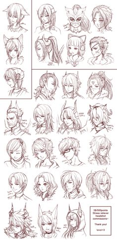 Inspiration: Hair & Expressions ----Manga Art Drawing Sketching Head Hairstyle---- [[[Batch9 by omocha-san on deviantART]]]
