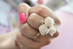 jewels rose white ring gold roses floral pink cream two-piece ring set