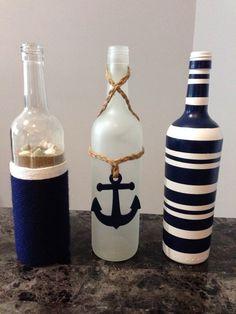 Nautical wine bottles ⚓️ Más - Crafting For Ideas bottle crafts baby shower Wine Bottle Art, Diy Bottle, Wine Bottle Crafts, Beer Bottle, Bottle Box, Nautical Bedroom, Nautical Bathrooms, Bottles And Jars, Glass Bottles