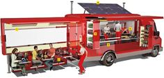 Redesigning Food Trucks love the solar power concept ant the fold out seating area awesome food trucks Food Trucks, Kombi Food Truck, Food Truck Business, Foodtrucks Ideas, Food Truck Interior, Café Interior, Food Truck Design, Food Design, Design Ideas
