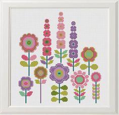 Flower Cross Stitch Pattern set of 3 Floral Cross Stitch