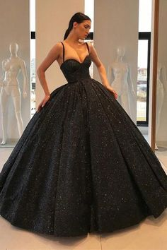 Ball Gown Black Prom Dress Floor-Length Sequins Quinceanera Dress Sweet 16 Dresses for Girls Sweet 16 Dresses, Sweet Dress, Affordable Dresses, Trendy Dresses, Elegant Dresses, Prom Dresses With Pockets, Black Wedding Dresses, Black Quinceanera Dresses, Black Ball Dresses