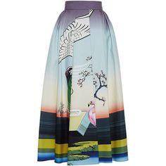 Mary Katrantzou Bowles Printed Cotton Midi Skirt