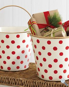 Polka Dot Pail from Garnet Hill.  These would be adorable in my daughter's room to toys.  Maybe a DIY version?