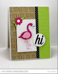 Tickled Pink, Flamingos Die-namics, Diagonal Stripes Background, Fresh Cut Flowers Die-namics, Happy Hellos Die-namics, Stitched Circle STAX Die-namics, Stitched Rectangle STAX Die-namics, Grid Stencil - Jodi Collins #mftstamps