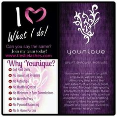 """Younique Products ~ Fastest growing home based business! Operate your business within or outside the US. Do you love makeup? Are you looking for a great business opportunity? Start your Younique Business for only $99. FREE Website and no auto-ship required. Try our amazing product(s) and consider joining my team. Contact me on my website at www.tleslielashes.com. Click """"Connect with Me"""". It will be my pleasure to welcome you to our Younique Family…"""