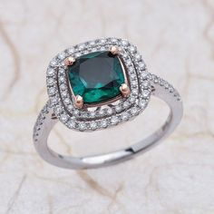 Double Halo 14k White Gold And Rose Gold Engagement Ring 0.55 Ctw G-SI2 Quality Diamonds And 8MM Cushion Chatham Lab Grown Emerald