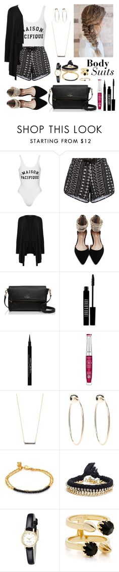 """""""Body Suit!"""" by katymccord77 ❤ liked on Polyvore featuring Topshop, New Look, Kate Spade, Lord & Berry, Givenchy, Bourjois, Adina Reyter, Bebe, Astley Clarke and Ettika"""