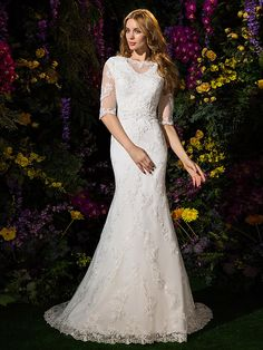 Lanting Bride® Trumpet / Mermaid Petite Wedding Dress Court Train Bateau Lace / Tulle with - USD $229.99
