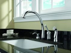 Delta 4380-SD-DST Pilar Kitchen Faucet with Side Spray and Soap/Lotion Dispenser Chrome Faucet Kitchen Single Handle