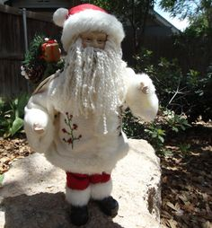 SOLD-Standing Santa Doll with Porcelian head and Hands by AskMeDecor