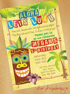 Really like this idea for invite Hawaiian Invitations, 60th Birthday Invitations, Party Invitations, Invite, Hawaiian Birthday, Hawaiian Theme, Hawaiian Luau, Luau Theme Party, Birthday Party Themes