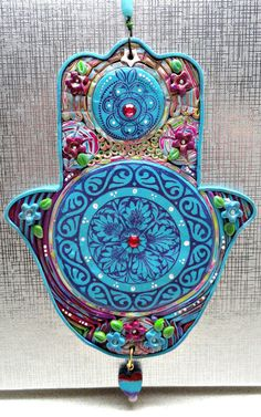 MANDALA HAMSA   polymer clay turquoise purple home by artefyk, $35.00