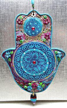 MANDALA HAMSA   polymer clay turquoise purple home by artefyk, $35.00