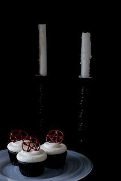 Black Velvet Cherry Almond Cupcakes via Sift & Whisk, minus the pentagram.