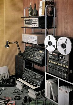 What a great home studio - 8 track, Korg keyboard and modular synth Home Studio Musik, Music Studio Room, Sound Studio, Studio Setup, Audio Studio, Music Rooms, Studio Gear, Music Recording Studio, Recording Studio Design