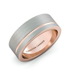Mens Wedding Band 8mm White Tungsten Ring Two Tone by Sydneykimi
