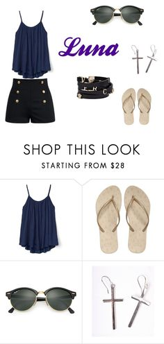 """look"" by gikaulitz on Polyvore featuring Gap, Reef, Ray-Ban, Versace and MDKN"