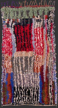 bs166, highly unusual Moroccan vintage boucherouite rag rug, 245 x 140 cm / 8' 2'' x 3' 8''