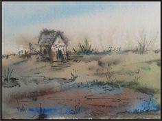 landscape on handmade paper