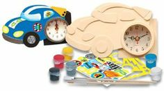 Works of Ahhh Race Car Clock by MasterPieces. $18.39. Ages 5 and up. Wooden craft kit. Everything you need to decorate it is included. Decorate your own working race car clock. Your child can have a ball decorating their own race car clock.  It contains a wood race car shaped clock with clock mechanism, 5 paints, 1 metallic silver paint, 2 paint brushes, sticker sheet and stencil.  Battery not included.