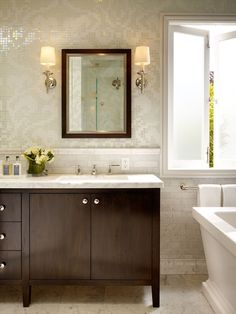Tile  Suzie: Artistic Designs for Living - Beautiful brown & gray master bathroom design with white ...