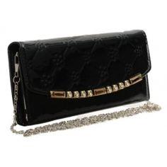 Peňaženka lakovaná s retiazkou Kinga, čierna 14956