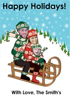 Family Christmas Card For 2 Or 3 People Sled By SandyFordDesign 2000