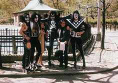 Kiss with their fans in Central Park in the early 1970s.