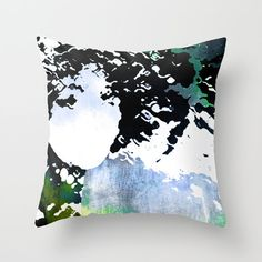 LADY-SILEX-13 Throw Pillow by Pia Schneider [atelier COLOUR-VISION] #art #illustration #face #ladysilex #femal #abstraction #women #gift #giftidea #piaschneider #portrait #black #white #green #blue #throwpillow #pillow #cushion #homedecor