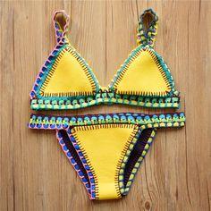 Sunshine Yellow Hand Crochet Neoprene Bikini Swimsuit