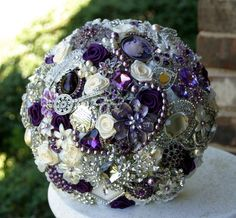Purple brooch bridal bouquet Deposit on a made to by annasinclair, $75.00