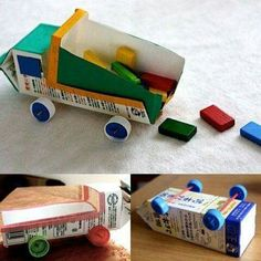 Dump truck birthday party ideas easter eggs 60 new Ideas Craft Activities, Preschool Crafts, Diy And Crafts, Crafts For Kids, Children Crafts, Recycled Toys, Recycled Crafts, Projects For Kids, Diy For Kids