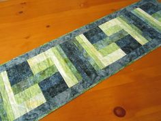 Batik Table Runner Teal Color Handmade by PatchworkMountain, $52.00