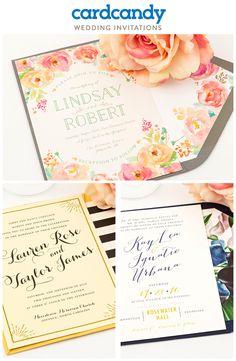 Modern, rustic, unique, customizable. #weddinginvitations for every bride & every wedding at cardcandy.com.