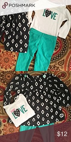 """Girls 3 Pc. Set Just One You Carters - 6 months Girls 6 month 3 piece set by Just One You by Carters in white/teal/navy. White long sleeve """"Little Love"""" bodysuit, teal soft pants, and navy-white print fleece pullover. In great used condition. Just One You Matching Sets"""