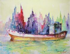 Christian Couteau watercolor paintings- I love his colors....
