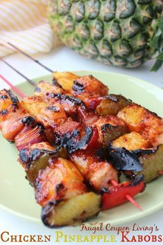 The yummiest Chicken Recipe and Grill Recipe - Chicken Pineapple Kabobs. Mouth watering and great for a Summer Party or Evening.