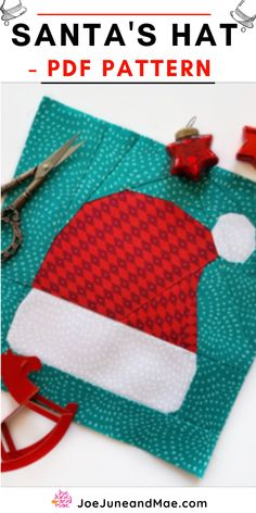 """Ho-ho-ho-ho! Santa's Hat Quilt Block Pattern Christmas is the most wonderful time of the year.... This pattern is for a 8"""" x 8"""" and 10""""x 10"""" block.( all sizes are included) #joejuneandmae #quiltideas #quiltpatterns #quiltideasunique #quilts #quilting #santasquilt"""
