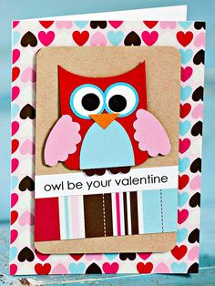Cute Owl Valentine's Day Card - so adorable! - More DIY Valentine's cards: http://www.bhg.com/holidays/valentines-day/cards/handmade-valentines-cards/