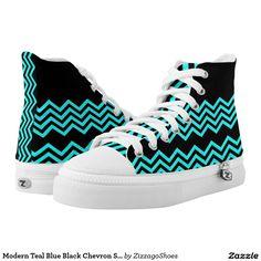 Modern Teal Blue Black Chevron Stripe Printed Shoes