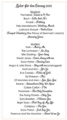 Die schönsten Lieder für den Einzug bei der Trauung | Hochzeitsblog - The Little Wedding Corner: