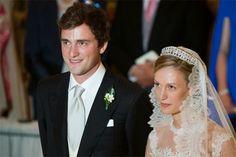 05 JULY 2014  Wedding of Prince Amedeo and Elisabetta Maria Rosboch Von Wolkenstein Wedding of Prince Amedeo of Belgium and Elisabetta Maria Rosboch Von Wolkenstein at Basilica Santa Maria in Trastevere in Rome, Italy
